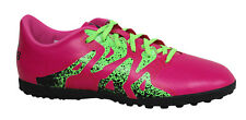 Adidas X 15.4 TF Junior Lace Up Pink Green Astro Turf Football Boots S74612 U58