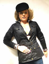 New Black Brown Wax Cotton Belted Fitted Motorcycle Jacket Coat 8 10 12 14 16