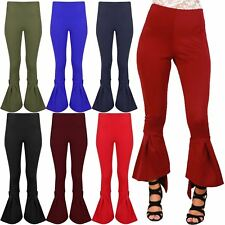 Womens Ladies High Waisted Bell Bottom Palazzo Cigarette Ruffle Frill Trousers