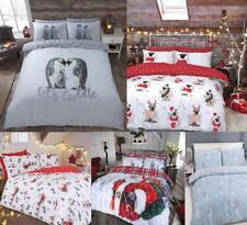 Traditional Santa Christmas Pattern Duvet Bedding Sets Bed Sheets Xmas Single
