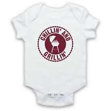 CHILLIN' AND GRILLIN' BBQ RETRO SLOGAN CHEF COOKING BABY GROW SHOWER GIFT