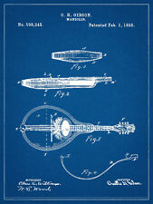 1898 Orville Gibson Mandolin Patent Drawing on Canvas