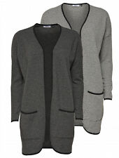 Only Damen Strickmantel Cardigan lange Strickjacke Mantel oversize grau NEU