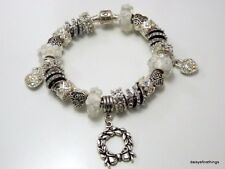 AUTHENTIC PANDORA BRACELET WITH CHARMS SILVER WHITE LUXE CHRISTMAS HINGED BOX