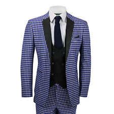 Mens 3 Piece Suit Vintage Blue White Check Slim Fit Jacket Waistcoat Trousers