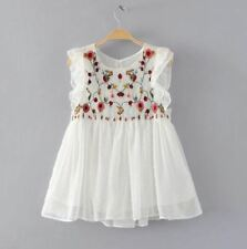 Ladies Pretty White Smock Blouse Embroidery Flowers Detail - LS0058