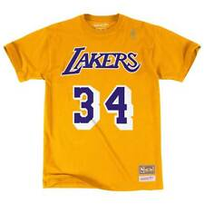 Mitchell & Ness Shaq O'Neal #34 Los Angeles Lakers Name & Number NBA Tee Gelb