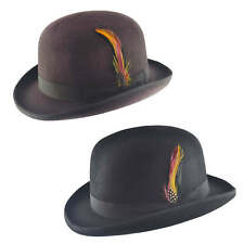 Mens Black Vintage 100% Wool Felt English Bowler Derby Hat Removable Feather Pin