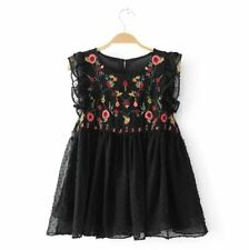 Ladies Pretty Black Smock Blouse Embroidery Flowers Detail - LS0059