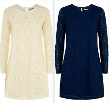 Darling Erin Lace Tunic Dress RRP�59 UK 10-16  Navy Cream Floral Lace Sleeves