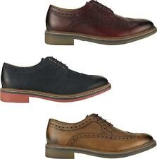 Ikon BARLEY Mens Scotch-grain Leather Stylish Lace-Up Wingtip Brogue Shoes