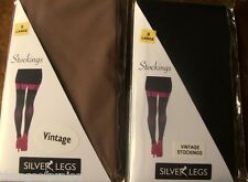 Ladies Plus Size 20-26  Vintage Style Nylon Stockings Black Natural Red & White