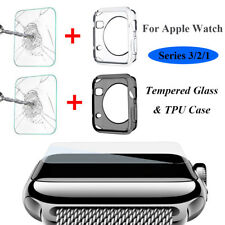 Apple Watch Series 3/2/1 Tempered Glass & Case Protective Bumper iWatch 38/42MM