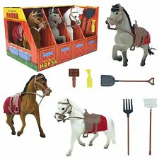 Horse Stable Take-Along Toy Playset with Farm Tools and Accessories Set of 3