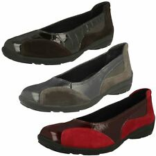 Ladies Easy B Wide Fitting Slip On Ballerina Style Leather Shoes - Ripon