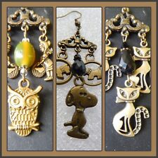 Retro Bronze tone dogs cats owls pendant necklace + charmsfashion popular style