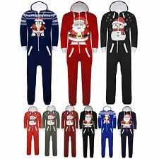 Womens Ladies Xmas Hooded All In One Snowman Christmas Muffler Zip Up Jumpsuit