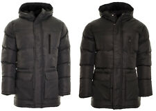 Men's Long Quilted Parka Jacket Warm Winter Padded Hooded Plain Parka Coat