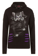 Spiral Direct BRIGHT EYES-WOLF ROSES RIPPED HOODY PURPLE-BLACK/Kittens/Girls/Top