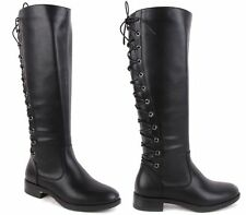 LADIES WOMENS KNEE HIGH LACE UP WIDE RIDING BOOTS LEG MID CALF BLOCK HEEL SIZE