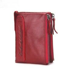 Women Wallet Bi-fold Purses ID Card Coin Holder Double Zipper Small Fashion Bags