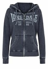 Lonsdale Donna Felpa con cappuccio e zip Selby Navy Blue stampa frontale FIT XS