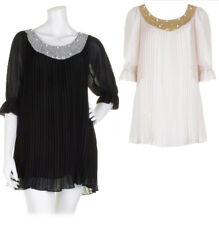 Darling Sequin Pearl Neck Grace Dress Top S-XL UK 10-16 RRP �69 Cream Black
