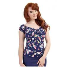 Collectif Vintage Dolores Doll Top Navy Blue Charming Bird Print Sz 8-22 1950s