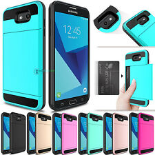 Hybrid Card Wallet Hard Armor Phone Cover Case for Samsung Galaxy J7 S