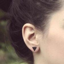 Earings Black Silver Color Alloy Punk Triangle Round Flash Stud Earrings
