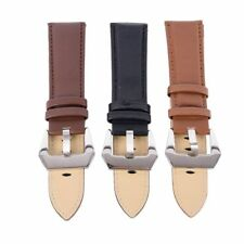 Genuine Leather Steel Buckle Strap Wrist Watch Strap Band Belt Stainless 20-24mm