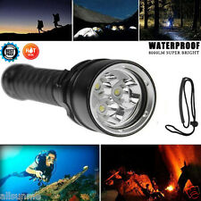 8000lm Impermeable 3x XML L2 LED submarinismo buceo 100m Linterna UK