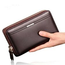 Men Wallet Long Leather Cell Phone Clutch Purse Hand Bag Zipper Card Organizer