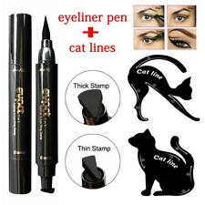 New 3Pcs Dual-ended Liquid Eyeliner Pen+Stamp Cat Eyeshadow Ruler Template Card