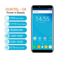 "OUKITEL C8 5.5"" Android 7.0 Infinity 3g SMARTPHONE 2g + 16GB Quad Core 13mp"