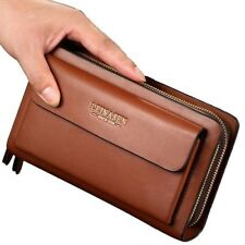 Men Wallet Leather Fashion Large Capacity Clutch Purse Card Phone Money Holder