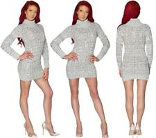 Ladies Women's Chunky Knit Turtle Polo Neck Bodycon Long Sleeve Top Jumper Dress