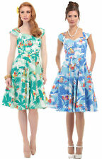 AIDA ZAK COLLECTIF SANDRA HAWAIIAN PRINT DRESS GREEN BLUE SZ 8-22 1950S
