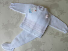 Spanish Baby Girls Knitted 2 Piece Set white and pale pink