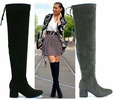 Womens Thigh High Stretch Calf Mid Heel Ladies Drawstring Over The Knee Long Boo