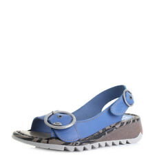 Womens Fly London Tram Smurf Blue Leather Low Wedge Sandals  UK Size