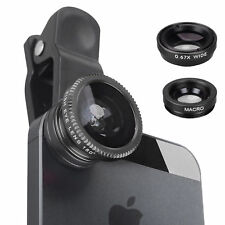 3in1 Wide Angle Macro Lens Kit Wide Clip On Camera Fish Eye Universal For iPhone