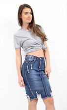 Women's Ripped Destressed Raw Hem High Waisted Denim Midi Skirt Mid Blue