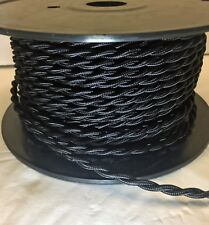 Black Rayon Cloth Covered Twisted Electrical Wire BULK 8-24FT Lamp Cord Antique