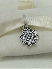Lucky Four Leaf Clover Pendant Charm Bead Genuine Sterling  Silver Necklace