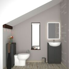 Bathroom Cloakroom 1000mm Yubo Vanity Basin BTW Grey Unit with Toilet and Sink