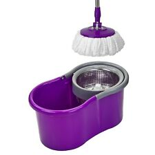 360 Degree Rotating Spinning Spin Mop Bucket Adjustable Handle 2 Cleaning Head P
