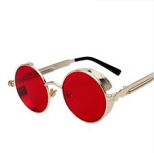 💎LIMITED STEAMPUNK GOLD Sunglasses Round Hot Retro Lens Glasses💎