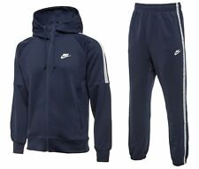 Nike Men's Hooded Navy Tribute Tracksuit Top with Jogging Bottoms S M L XL