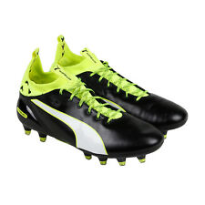 Puma Evotouch Pro Fg Mens Black Leather Athletic Lace Up Soccer Shoes